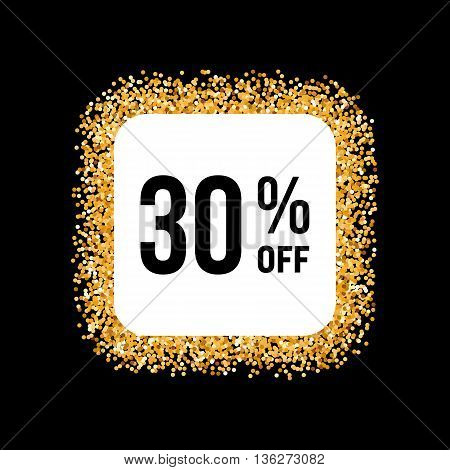Golden Frame on Black Background with Discount Thirty Percent
