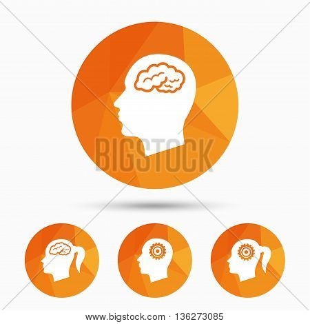 Head with brain icon. Male and female human think symbols. Cogwheel gears signs. Woman with pigtail. Triangular low poly buttons with shadow. Vector