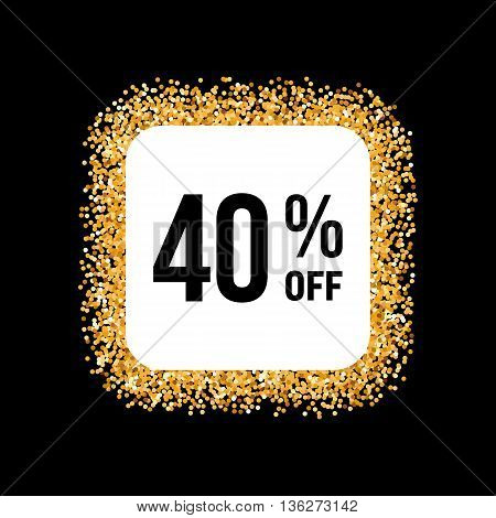 Golden Frame on Black Background with Discount Forty Percent