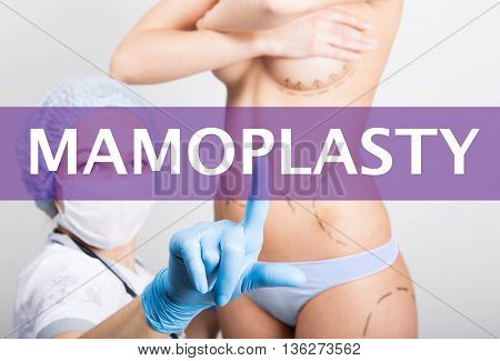 technology, internet and networking in medicine concept - medical doctor presses mammoplasty button on virtual screens. cosmetic surgery, lifting and breast augmentation.