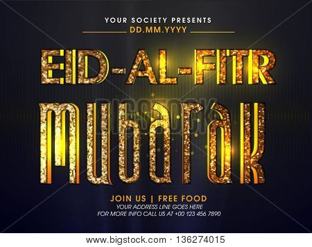 Beautiful Invitation Card design with Golden Glittering Text Eid-Al-Fitr Mubarak on shiny background, Can be used as Poster, Banner or Flyer design for Muslim Community Festivals celebration.