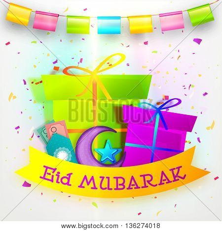 Creative illustration with Glossy Gifts, Crescent Moon, Star, Money Envelopes (Eidi), on glossy buntings decorated background, Set of Islamic elements for Holy Festival, Eid Mubarak celebration.