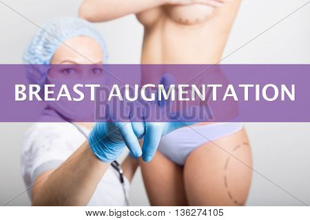 technology, internet and networking in medicine concept - medical doctor presses breast augmentation button on virtual screens. cosmetic surgery, lifting and breast augmentation.