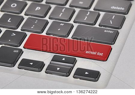 Keyboard  Button Written Word Email List