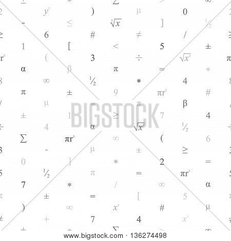 Vector Seamless Geometric Background. Mathematical Pattern Of Grey Numbers, Symbols And Figures