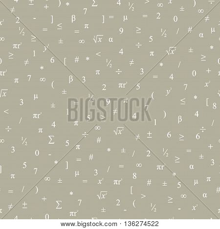 Vector Seamless Geometric Dark Background. Mathematical Pattern Of Numbers, Symbols And Figures.
