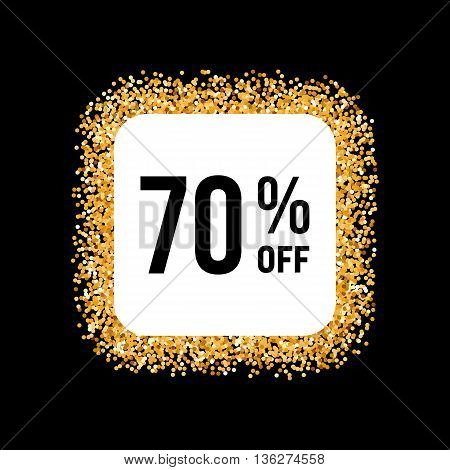 Golden Frame on Black Background with Discount Seventy Percent