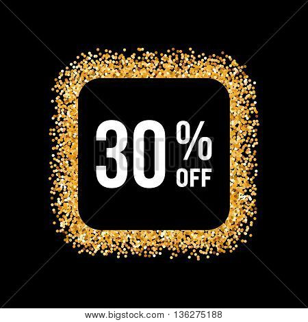 Golden Frame on Black Background with Text Thirty Percent Off