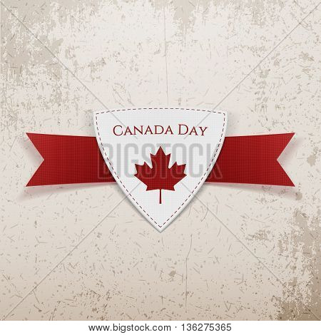 Canada Day festive red Emblem. Vector Illustration