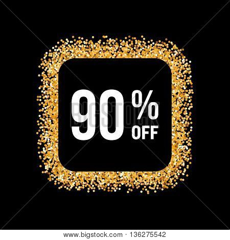 Golden Frame on Black Background with Text Ninety Percent Off