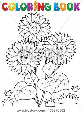 Coloring book with happy sunflowers - eps10 vector illustration.