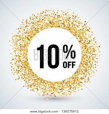 Golden Circle Frame with Sale Text Ten Percent Off