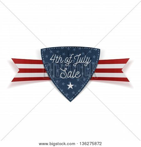 4th of July Sale Banner with Ribbon. Vector Illustration
