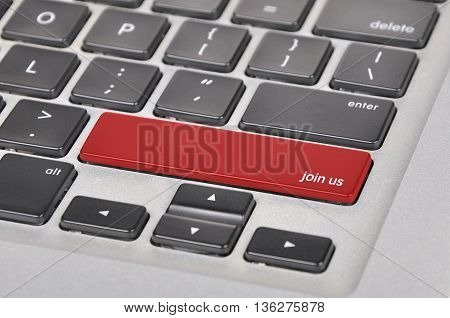 The Computer Keyboard Button Written Word Join Us