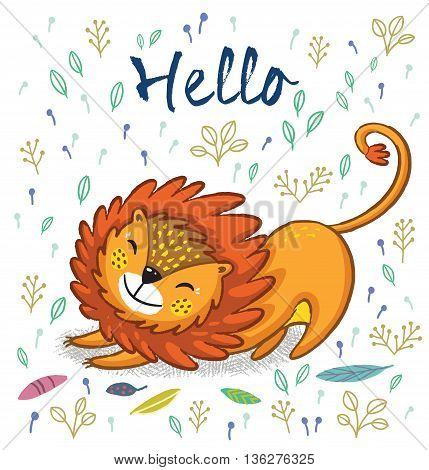 Cartoon character fun lion. Vector illustration. Funny cartoon lion vector print with text - Hello. Character jungle wild lion with tribal feathers