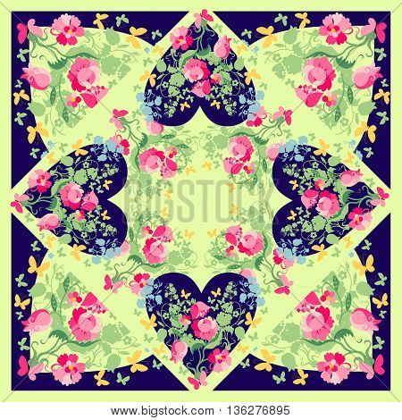 Beautiful bandana print with hearts, flowers and butterflies. Silk neck scarf for Valentines day. Kerchief square pattern design style for print on fabric. Vector illustration.