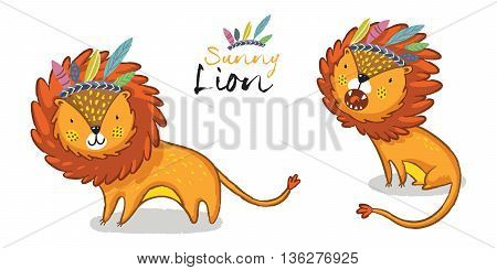 Cartoon lion action set, king of the jungle. With cute lion and lion roaring vector illustration.