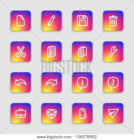 white line web icon set on colorful smooth gradient rounded rectangle with soft shadow for web design user interface (UI) infographic and mobile application