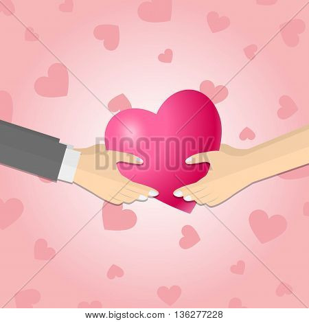 Hands giving a pink heart on pink hearts background