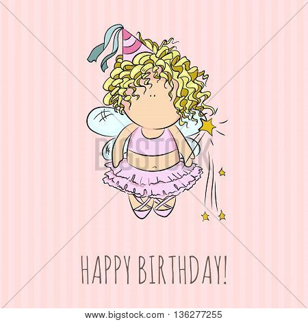 cute vector illustration of a fairy with magic stick. doodle. happy birthday card. romantic girly style. invitation card template. pink stripe background