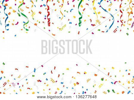 Confetti and streamers with copy space on white background
