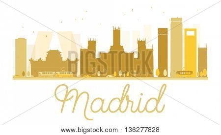Madrid City skyline golden silhouette. Simple flat concept for tourism presentation, banner, placard or web site.  Cityscape with famous landmarks