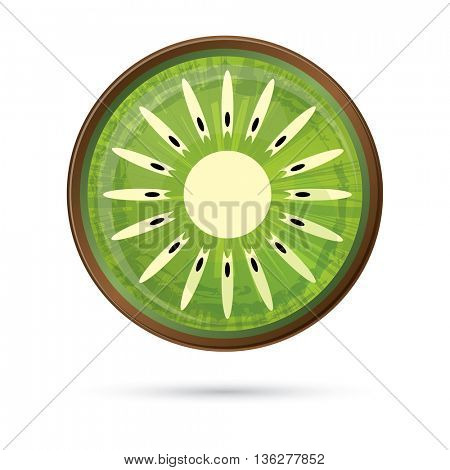 Kiwi Icon Isolated on White. Green Kiwi with Shadow