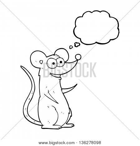 freehand drawn thought bubble cartoon happy mouse