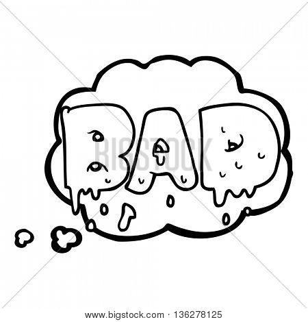 freehand drawn thought bubble cartoon word bad