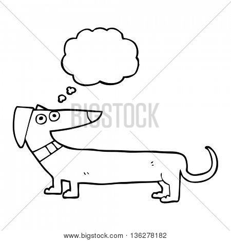 freehand drawn thought bubble cartoon sausage dog