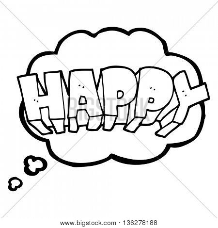 freehand drawn thought bubble cartoon word happy