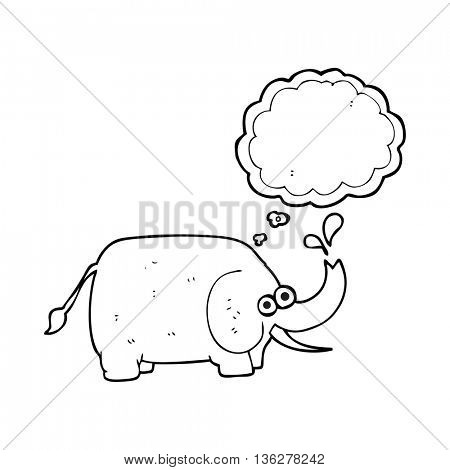freehand drawn thought bubble cartoon elephant