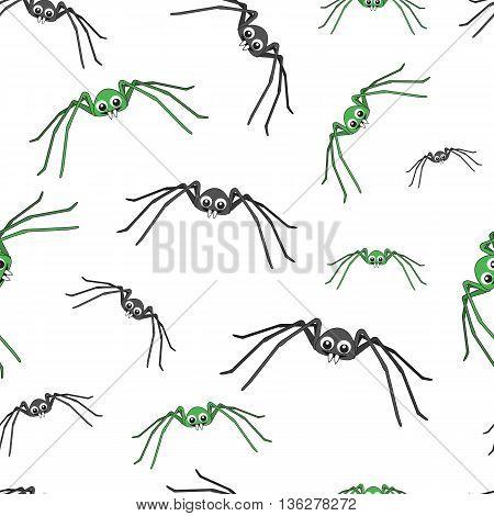 Background cute spider. Background cartoon funny spider. Background spider with long legs.