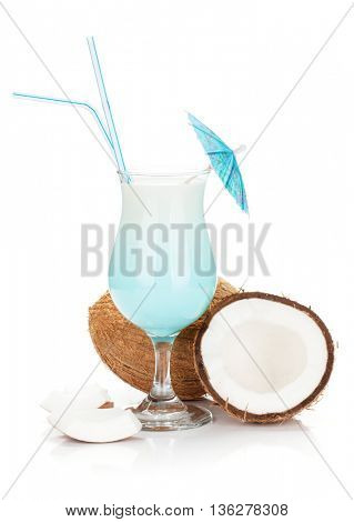 Blue hawaii cocktail and coconuts. Isolated on white background