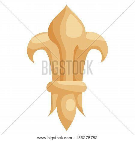Fleur de lis icon in cartoon style on a white background