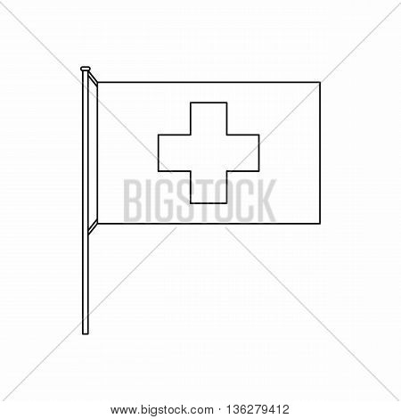 Switzerland flag icon in outline style isolated on white background