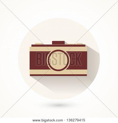 Vintage Retro Film Camera Icon logo. Vector Illustration.