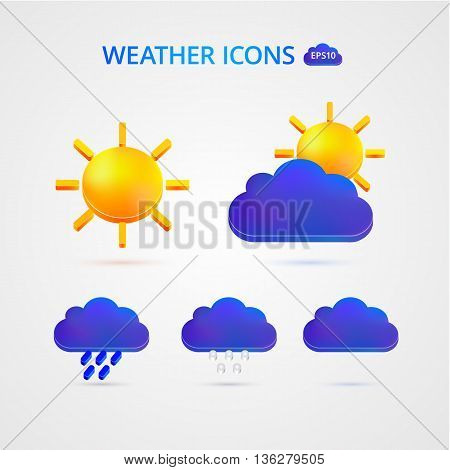 Weather icons. Clouds, sun rain Vector illustration