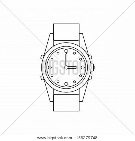 Swiss watch icon in outline style isolated on white background