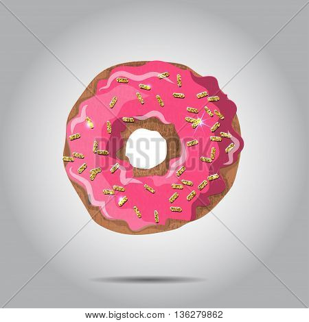 Sweet donut illustratio with pink glaze and many decorative sprinkles. Can be used as card or t-shirt print or for label, menu. EPS