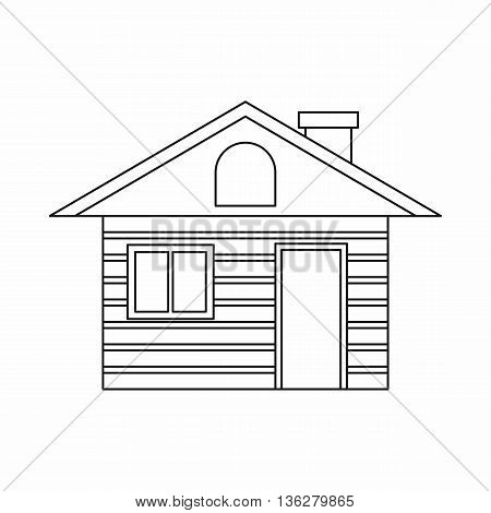 Wooden log house icon in outline style isolated on white background