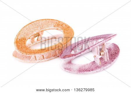 Two hair clips isolated on white background.