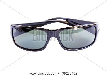 Black stylish sunglasses isolated on white background.