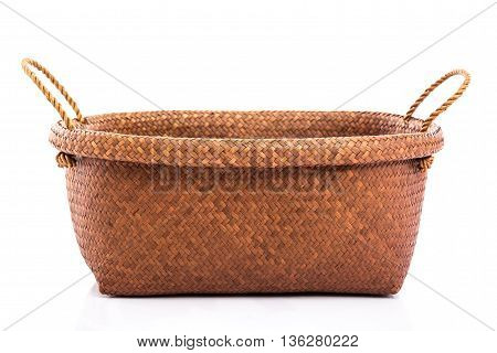 Close up Empty wicker basket on white backgroundisolated