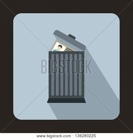 Resume thrown away in the trash can icon in flat style on a light blue background