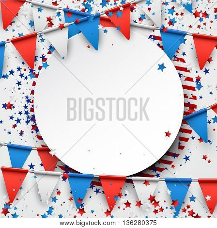 Round background with flags and stars. Vector illustration.