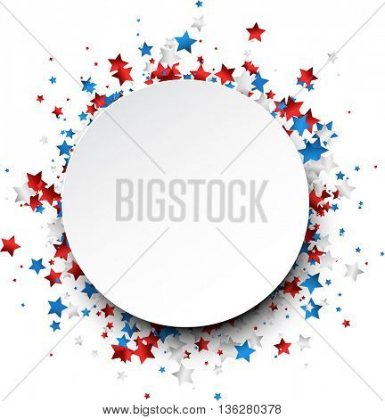 Round background with red, white, blue stars. Vector paper illustration.