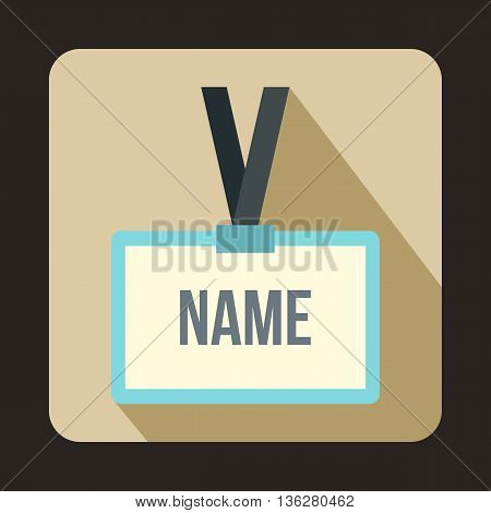 Plastic Name badge with gray neck strap icon in flat style on a beige background