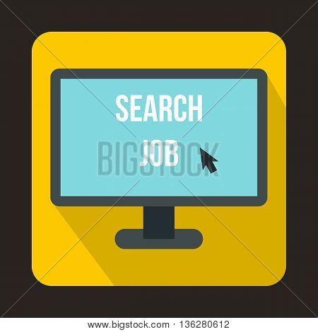 Search Job icon in flat style on a yellow background