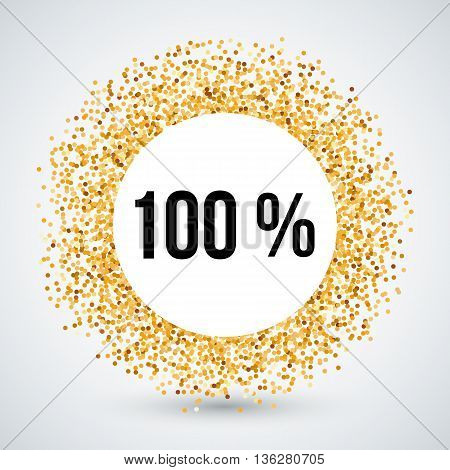 Golden Circle Frame with One Hundred Percent Text